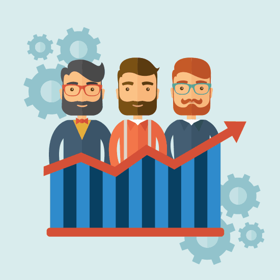 3 men standing behind an arrow showing increased value