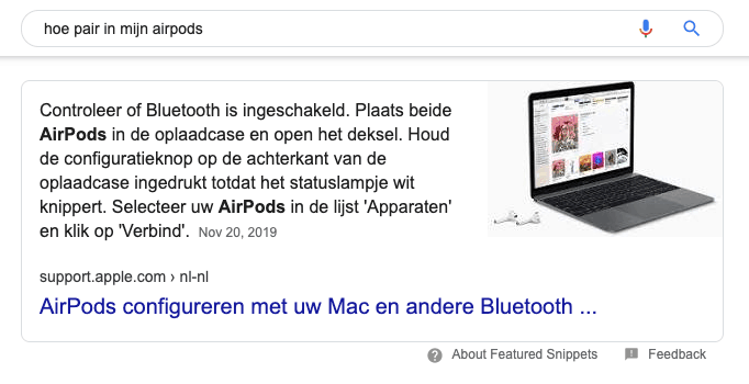 Featured snippet met uitleg om Apple Airpods te pairen
