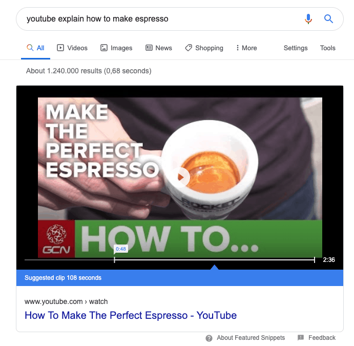 YouTube Featured snippet in de zoekresultaten