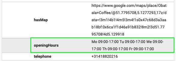 Structured data openingstijden Obatala Coffee