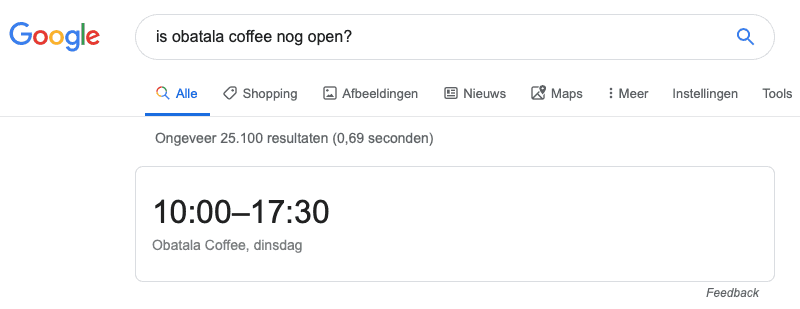 Rich Snippet na search query over openingstijden